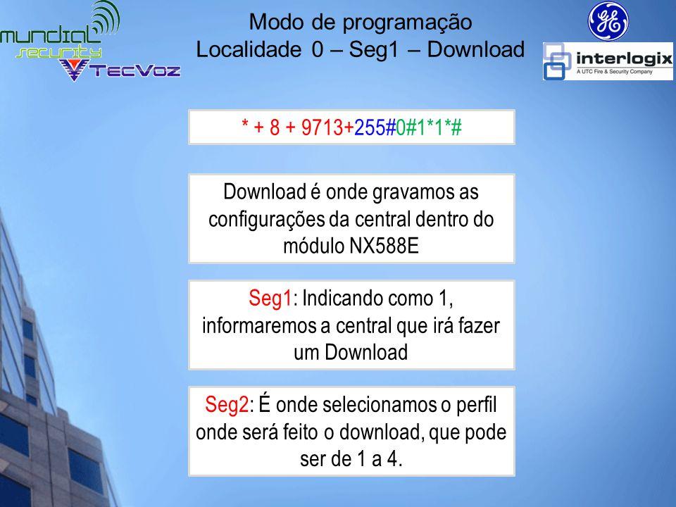 Modo de programação Localidade 0 – Seg1 – Upload Download é onde gravamos as configurações da central dentro do módulo NX588E * + 8 + 9713+255#0#2*1*# Seg2: É onde selecionamos o perfil onde será feito o Upload, que pode ser de 1 a 4.