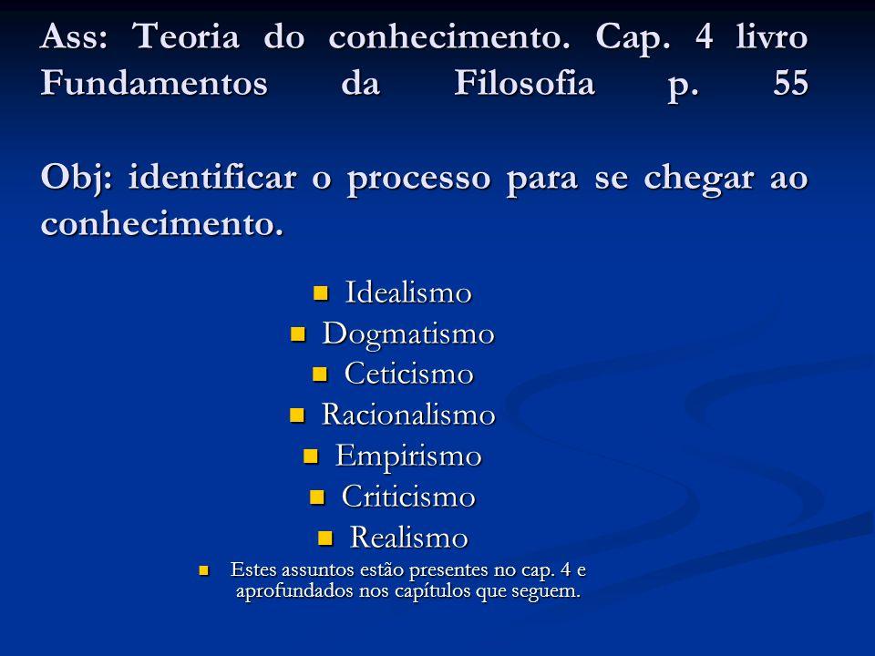 Ass: Teoria do conhecimento. Cap. 4 livro Fundamentos da Filosofia p. 55 Obj: identificar o processo para se chegar ao conhecimento.  Idealismo  Dog