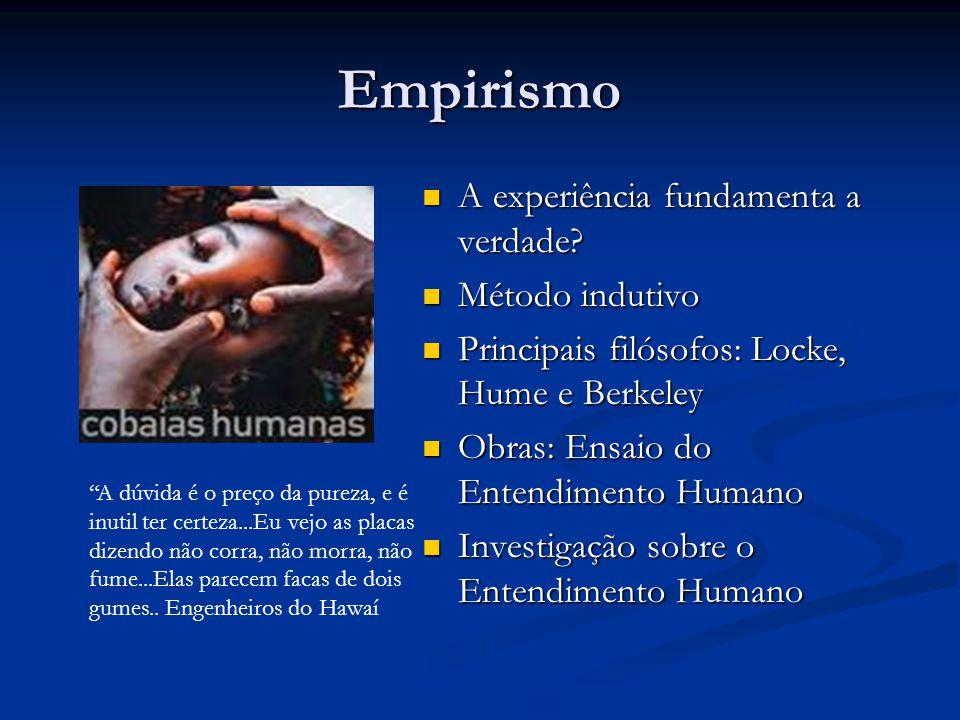 Empirismo  A experiência fundamenta a verdade?  Método indutivo  Principais filósofos: Locke, Hume e Berkeley  Obras: Ensaio do Entendimento Human
