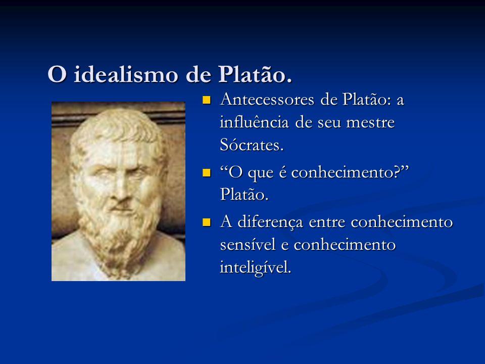 """O idealismo de Platão.  Antecessores de Platão: a influência de seu mestre Sócrates.  """"O que é conhecimento?"""" Platão.  A diferença entre conhecimen"""