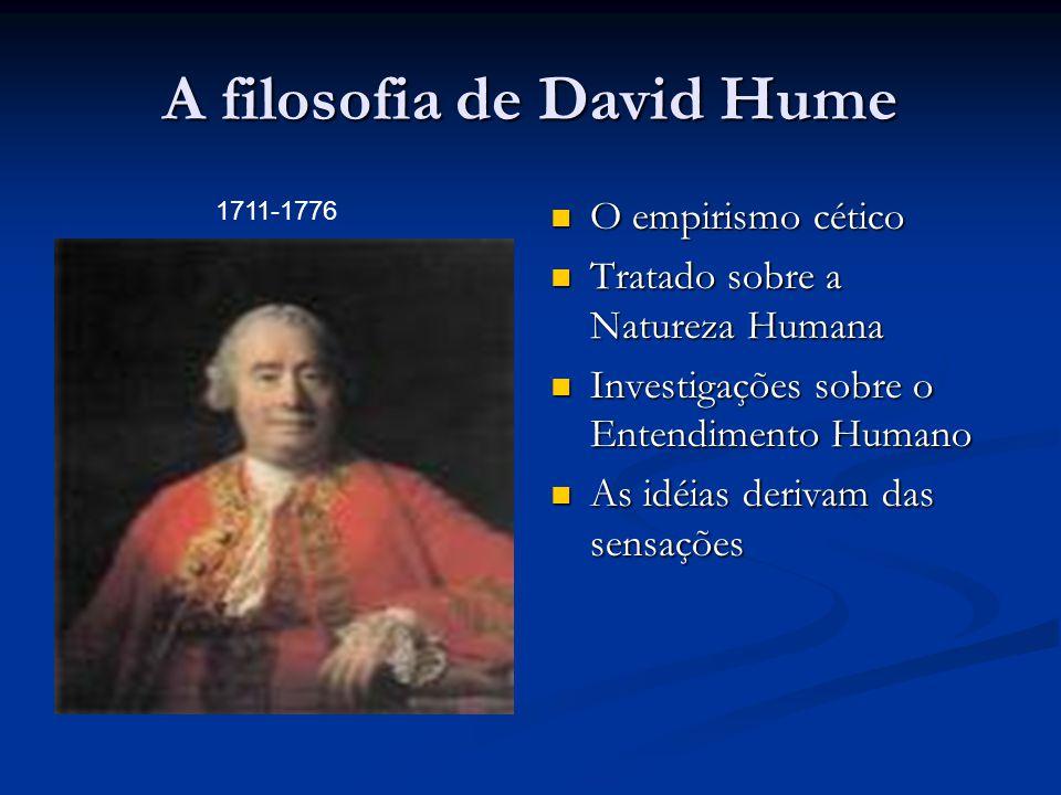 A filosofia de David Hume  O empirismo cético  Tratado sobre a Natureza Humana  Investigações sobre o Entendimento Humano  As idéias derivam das s