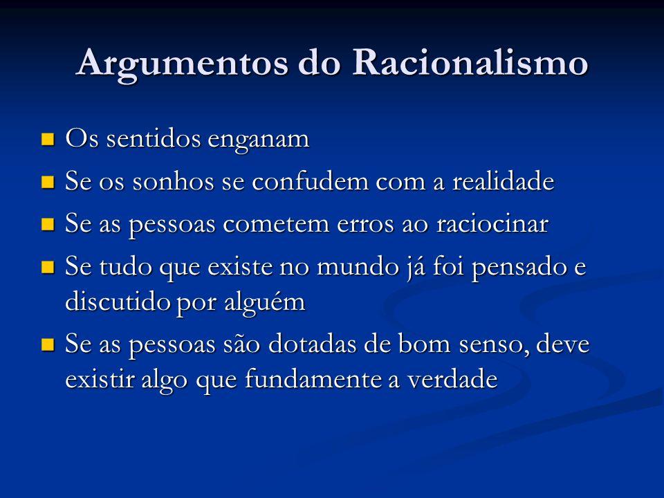 Argumentos do Racionalismo  Os sentidos enganam  Se os sonhos se confudem com a realidade  Se as pessoas cometem erros ao raciocinar  Se tudo que