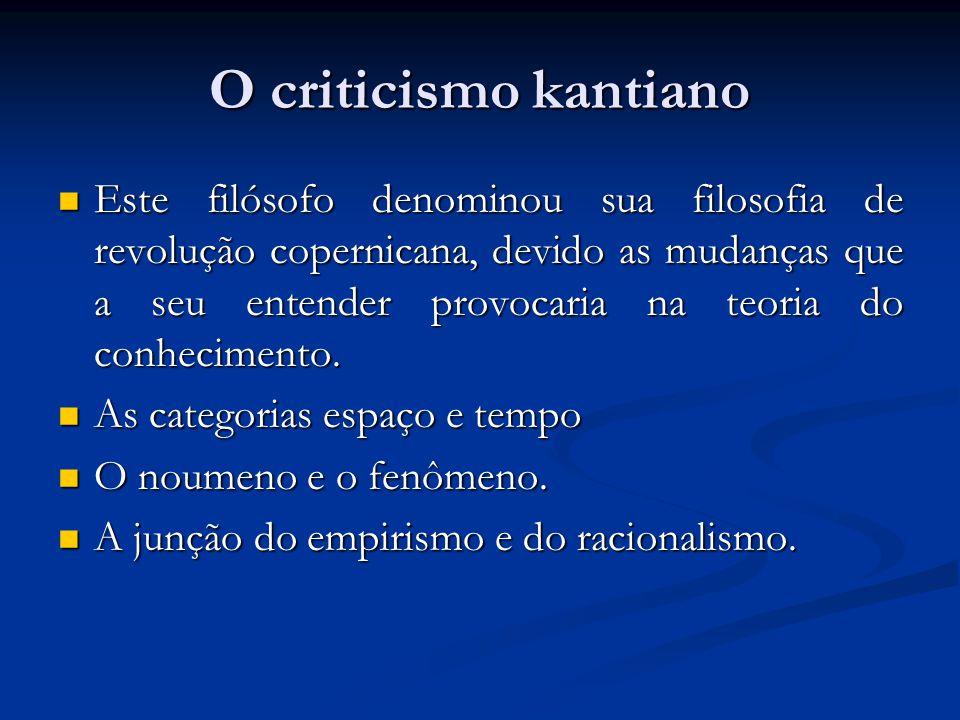 O criticismo kantiano  Este filósofo denominou sua filosofia de revolução copernicana, devido as mudanças que a seu entender provocaria na teoria do