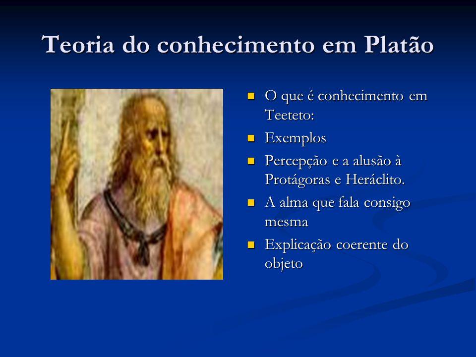 Teoria do conhecimento em Platão  O que é conhecimento em Teeteto:  Exemplos  Percepção e a alusão à Protágoras e Heráclito.  A alma que fala cons