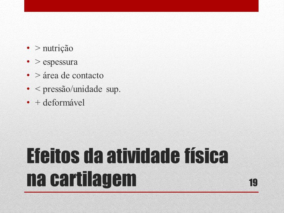 Efeitos da atividade física na cartilagem • > nutrição • > espessura • > área de contacto • < pressão/unidade sup.