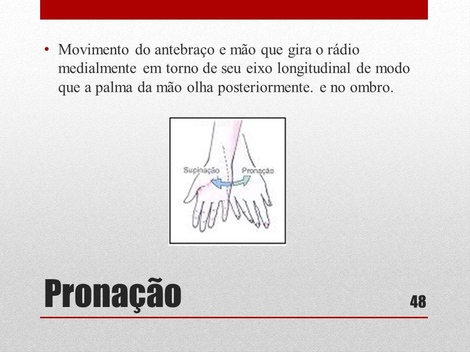 Pronação • Movimento do antebraço e mão que gira o rádio medialmente em torno de seu eixo longitudinal de modo que a palma da mão olha posteriormente.