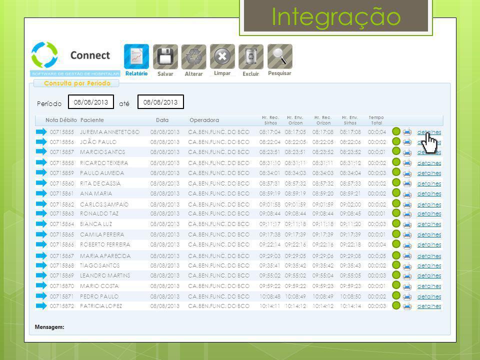 Integração Consulta por Período Período 08/08/2013 até 08/08/2013 detalhes PacienteDataOperadora Hr. Rec. Orizon Tempo Total Hr. Env. Orizon Hr. Rec.