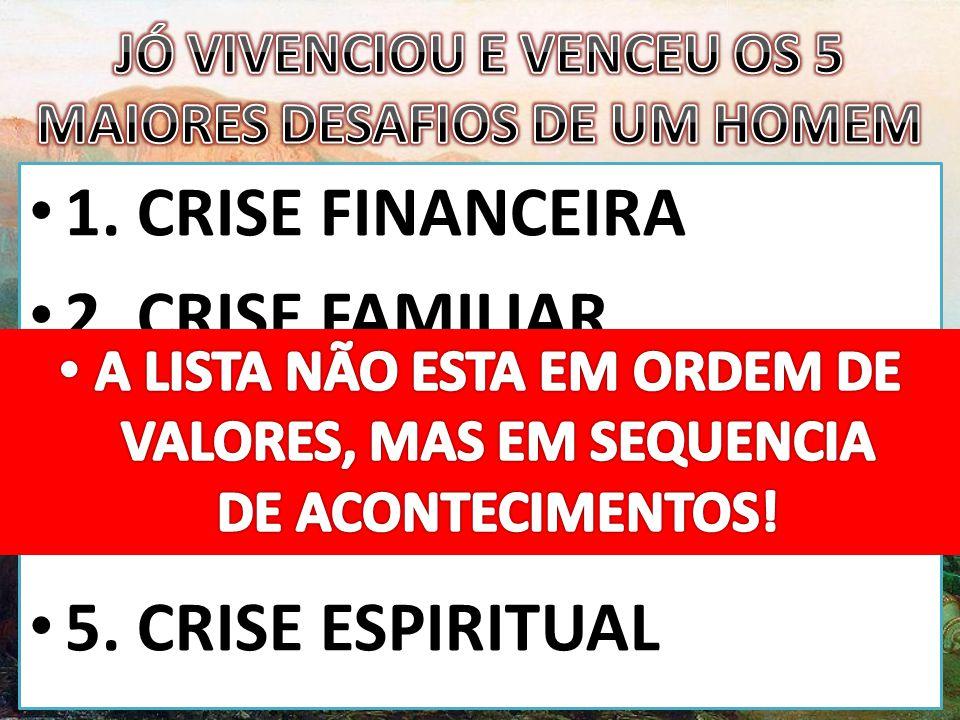 • 1.CRISE FINANCEIRA • 2. CRISE FAMILIAR • 3. CRISE CONJUGAL • 4.