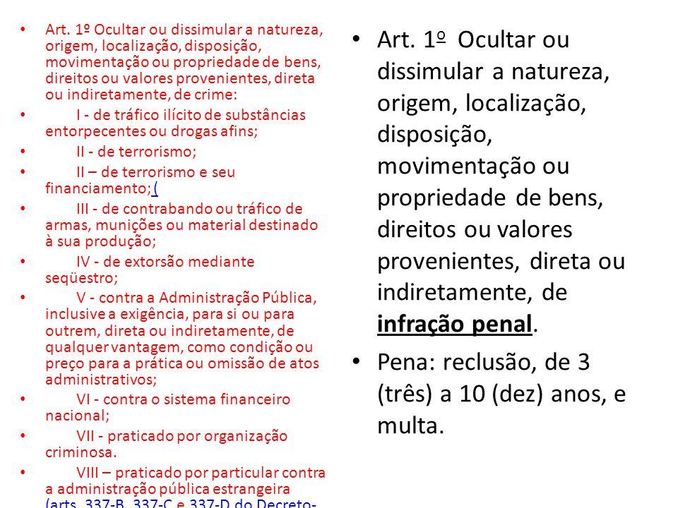• Art. 1º Ocultar ou dissimular a natureza, origem, localização, disposição, movimentação ou propriedade de bens, direitos ou valores provenientes, di