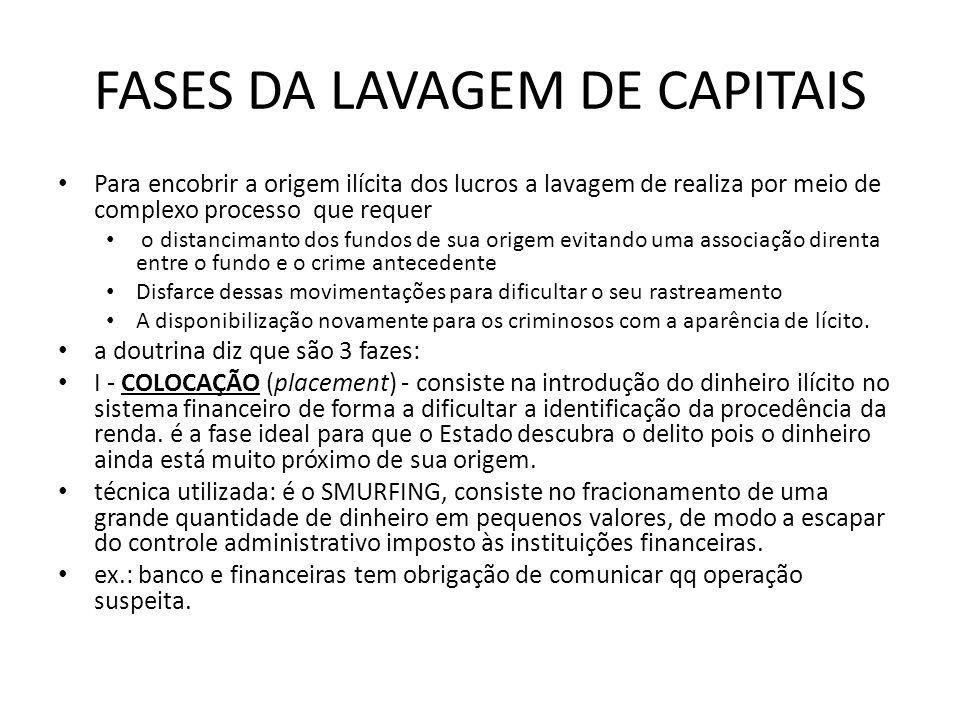 FASES DA LAVAGEM DE CAPITAIS • Para encobrir a origem ilícita dos lucros a lavagem de realiza por meio de complexo processo que requer • o distanciman