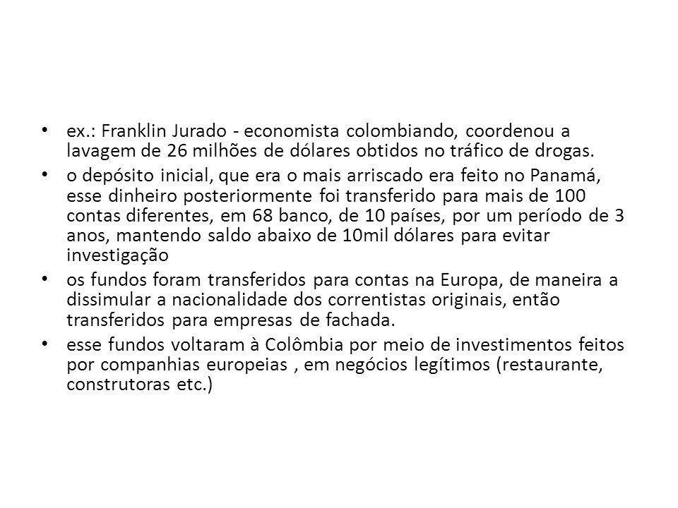• ex.: Franklin Jurado - economista colombiando, coordenou a lavagem de 26 milhões de dólares obtidos no tráfico de drogas. • o depósito inicial, que