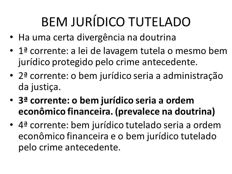 BEM JURÍDICO TUTELADO • Ha uma certa divergência na doutrina • 1ª corrente: a lei de lavagem tutela o mesmo bem jurídico protegido pelo crime antecede