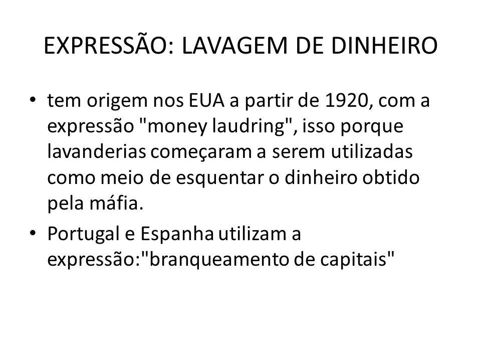 EXPRESSÃO: LAVAGEM DE DINHEIRO • tem origem nos EUA a partir de 1920, com a expressão