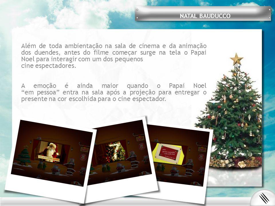 Além de toda ambientação na sala de cinema e da animação dos duendes, antes do filme começar surge na tela o Papai Noel para interagir com um dos pequenos cine espectadores.