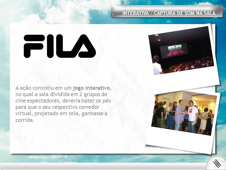 INTERATIVA - CAPTURA DE SOM NA SALA A ação consistiu em um jogo interativo, no qual a sala dividida em 2 grupos de cine espectadores, deveria bater os pés para que o seu respectivo corredor virtual, projetado em tela, ganhasse a corrida.