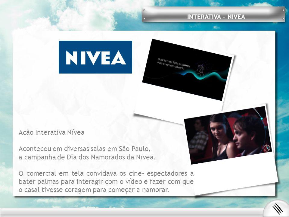 INTERATIVA - NIVEA Ação Interativa Nívea Aconteceu em diversas salas em São Paulo, a campanha de Dia dos Namorados da Nívea. O comercial em tela convi