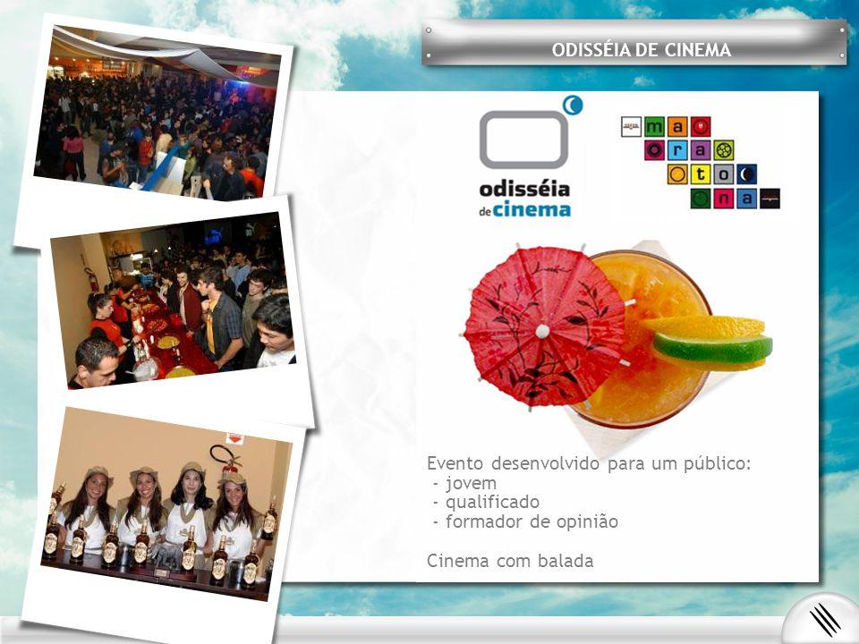 ODISSÉIA DE CINEMA Evento desenvolvido para um público: - jovem - qualificado - formador de opinião Cinema com balada
