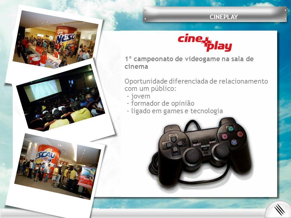 1º campeonato de videogame na sala de cinema Oportunidade diferenciada de relacionamento com um público: - jovem - formador de opinião - ligado em games e tecnologia CINEPLAY