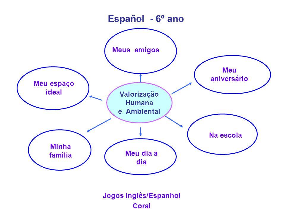 Valorização Humana e Ambiental Español - 6º ano Jogos Inglês/Espanhol Coral Meus amigos Meu aniversário Na escola Meu dia a dia Minha família Meu espa