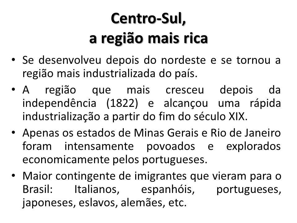 Centro-Sul, a região mais rica • Se desenvolveu depois do nordeste e se tornou a região mais industrializada do país. • A região que mais cresceu depo
