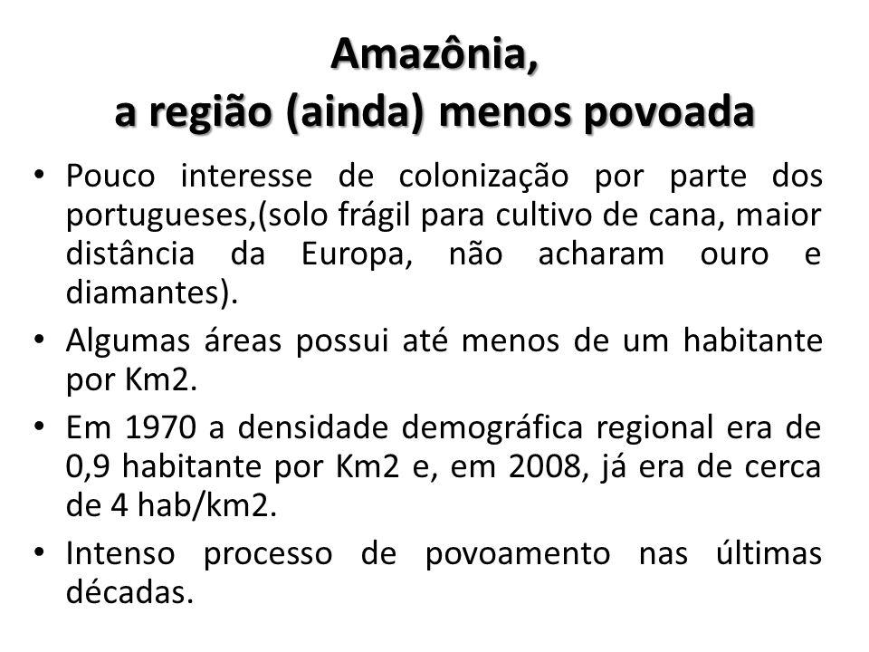 Amazônia, a região (ainda) menos povoada • Pouco interesse de colonização por parte dos portugueses,(solo frágil para cultivo de cana, maior distância