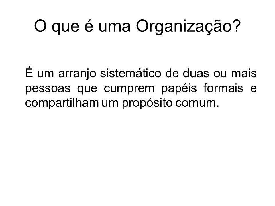 O que é uma Organização? É um arranjo sistemático de duas ou mais pessoas que cumprem papéis formais e compartilham um propósito comum.