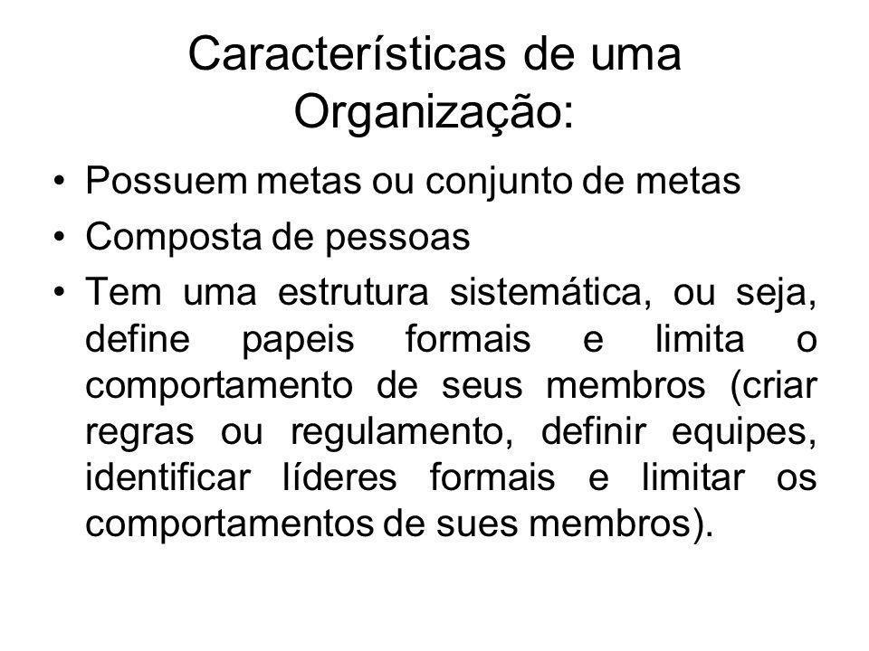 Características de uma Organização: •Possuem metas ou conjunto de metas •Composta de pessoas •Tem uma estrutura sistemática, ou seja, define papeis fo