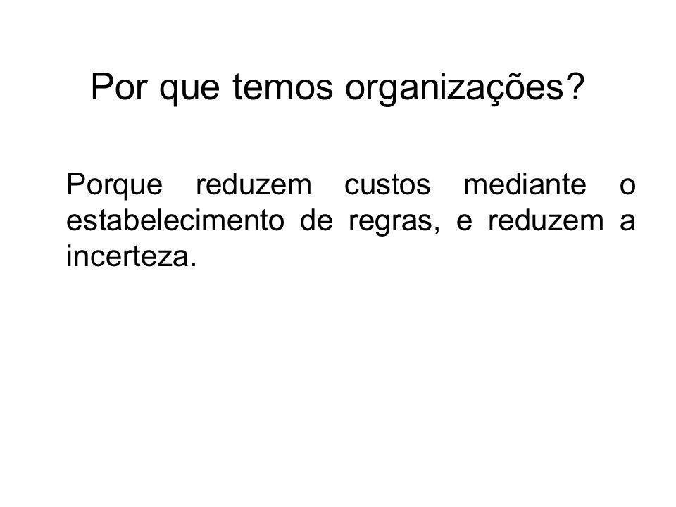 Por que temos organizações? Porque reduzem custos mediante o estabelecimento de regras, e reduzem a incerteza.