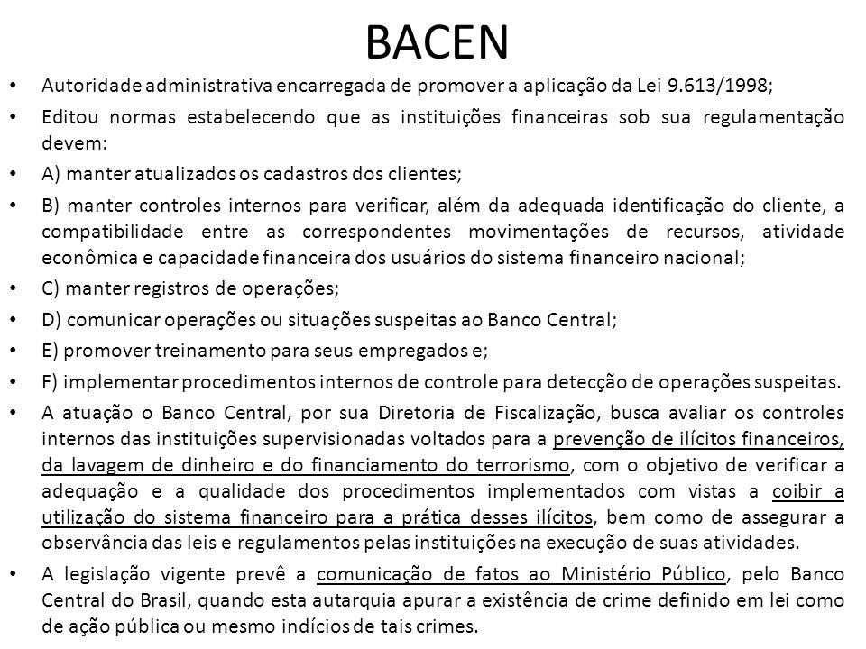BACEN • Autoridade administrativa encarregada de promover a aplicação da Lei 9.613/1998; • Editou normas estabelecendo que as instituições financeiras