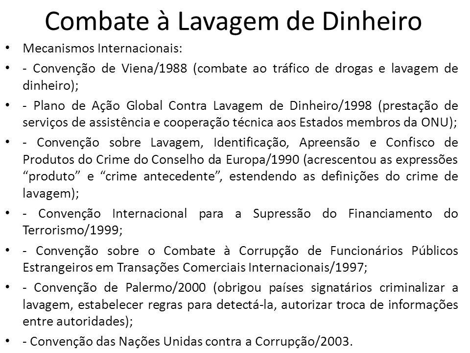 • Entidades internacionais: • - ONU; • - Comissão Interamericana para o Controle do Abuso de Drogas (CICAD); • - Grupo de Ação Financeira sobre Lavagem de Dinheiro/1989 (GAFI): estabelecer padrões, desenvolver e promover políticas de combate a lavagem de dinheiro e ao financiamento do terrorismo; • - Grupo de Ação Financeira da América do Sul contra a Lavagem de Dinheiro/2000 (GAFISUD): espelho do GAFI, mas com atuação regional; • - Comitê da Basiléia da Supervisão Bancária/1974 (CBSB); • - Associação Internacional dos Supervisores de Seguro/1994 (AISS); • - Organização Internacional de Comissão de Valores (OICV); • - Organização Mundial de Aduanas/1952 (OMA); • - Banco Mundial (BM) e Fundo Monetário Internacional (FMI); • - Organização Internacional de Polícia Criminal (INTERPOL); • - Unidades Financeiras de Inteligência (UFI); • - Grupo de Egmont/1995.
