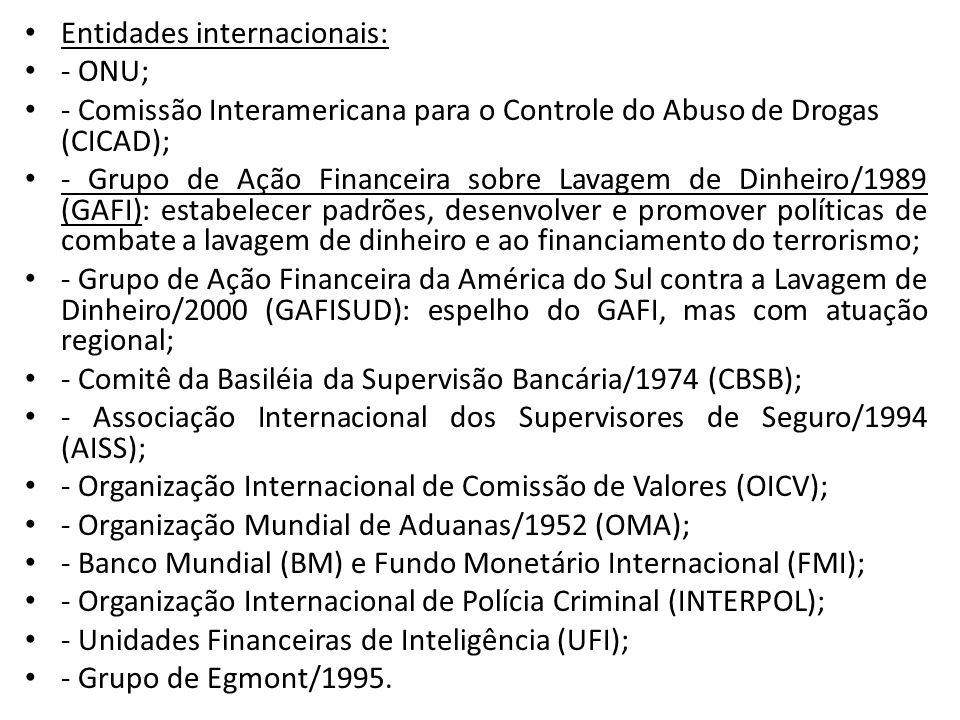 • Entidades internacionais: • - ONU; • - Comissão Interamericana para o Controle do Abuso de Drogas (CICAD); • - Grupo de Ação Financeira sobre Lavage