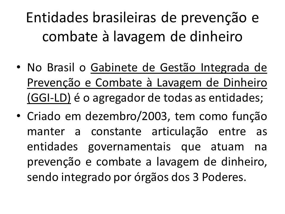 • São membros efetivos do GGI-LD: • Advocacia-Geral da União (AGU); • Agência Brasileira de Inteligência (ABIN); • Banco Central do Brasil (BACEN); • Casa Civil da Presidência da República; • Conselho de Justiça Federal (CJF); • Conselho de Controle de Atividade Financeiras (COAF); • Controladoria-Geral da União (CGU); • Departamento da Polícia Federal (DPF); • Departamento da Polícia Rodoviária Federal (DRPF); • Departamento de Recuperação de Ativos e Cooperação Jurídica Internacional (DRCI); • Gabinete de Segurança Institucional da Presidência da República (GSI); • Instituto Nacional de Seguridade Social (INSS); • Ministério da Justiça (MJ);