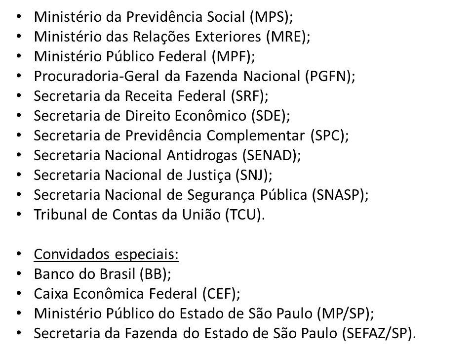 • Ministério da Previdência Social (MPS); • Ministério das Relações Exteriores (MRE); • Ministério Público Federal (MPF); • Procuradoria-Geral da Faze
