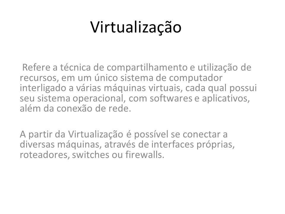 Refere a técnica de compartilhamento e utilização de recursos, em um único sistema de computador interligado a várias máquinas virtuais, cada qual pos