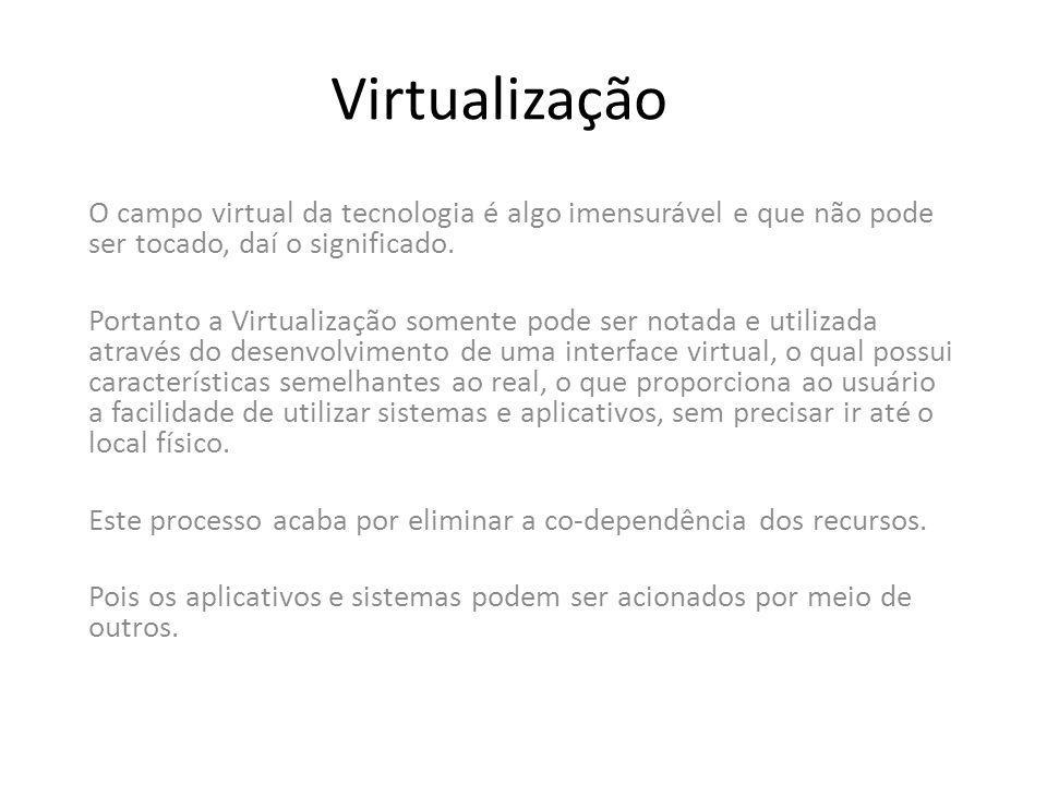 Virtualização O campo virtual da tecnologia é algo imensurável e que não pode ser tocado, daí o significado. Portanto a Virtualização somente pode ser