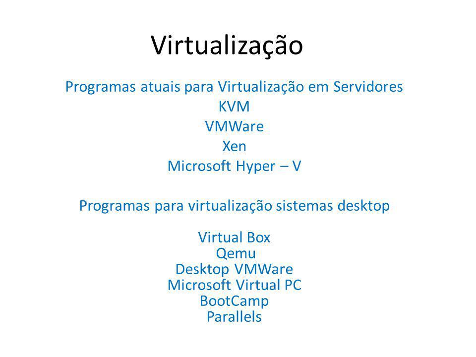 Virtualização Programas atuais para Virtualização em Servidores KVM VMWare Xen Microsoft Hyper – V Programas para virtualização sistemas desktop Virtu