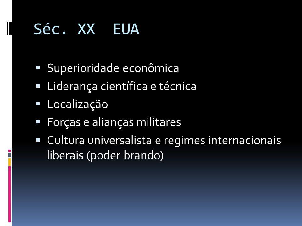 Séc. XX EUA  Superioridade econômica  Liderança científica e técnica  Localização  Forças e alianças militares  Cultura universalista e regimes i