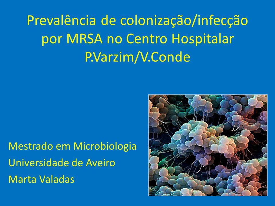 Discussão/Conclusão • Prevalência de MRSA no CHPV/VC: 14,6% -Portugal: 50% em 2008 (Sousa et al., 2008); • 49,7% dos isolados são MRSA; 50,3% dos isolados são MSSA; • % de MRSA superior no género masculino (50%) e no serviço de medicina (35%); • % de MRSA superior nas amostras de pús e expectoração;