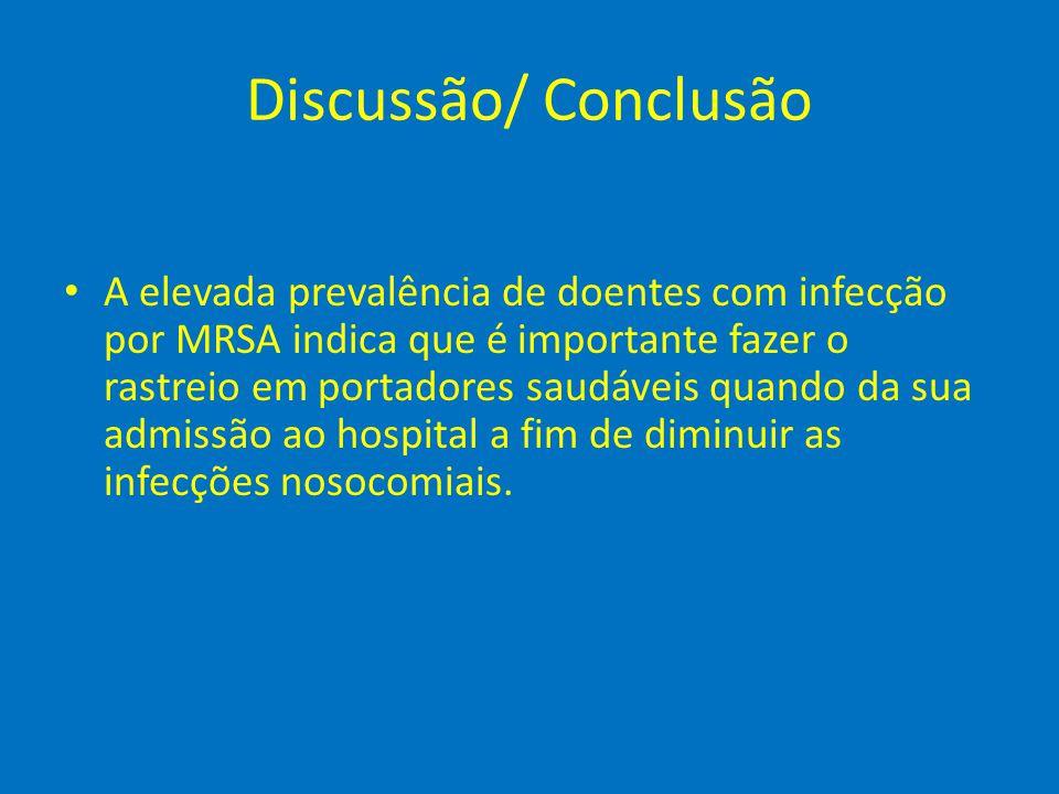 Discussão/ Conclusão • A elevada prevalência de doentes com infecção por MRSA indica que é importante fazer o rastreio em portadores saudáveis quando