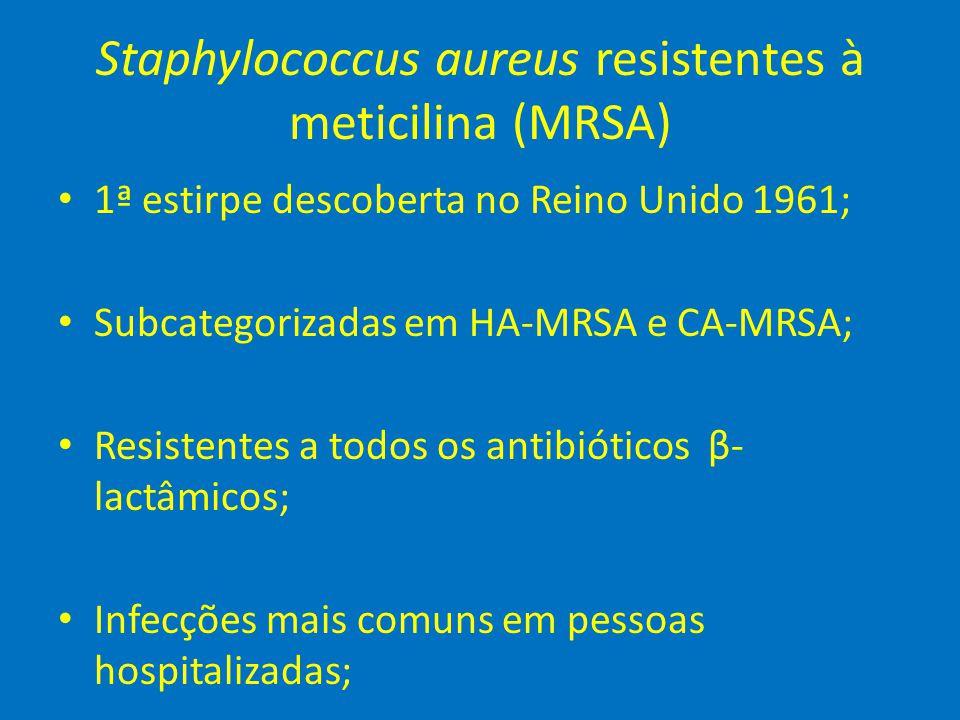 Staphylococcus aureus resistentes à meticilina (MRSA) • 1ª estirpe descoberta no Reino Unido 1961; • Subcategorizadas em HA-MRSA e CA-MRSA; • Resisten
