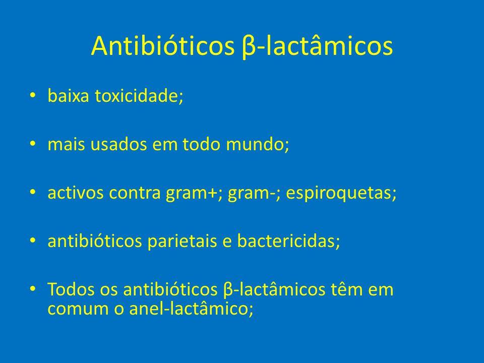 Antibióticos β-lactâmicos • baixa toxicidade; • mais usados em todo mundo; • activos contra gram+; gram-; espiroquetas; • antibióticos parietais e bac