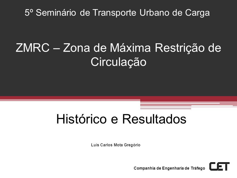 Luís Carlos Mota Gregório 5º Seminário de Transporte Urbano de Carga Companhia de Engenharia de Tráfego Histórico e Resultados ZMRC – Zona de Máxima R