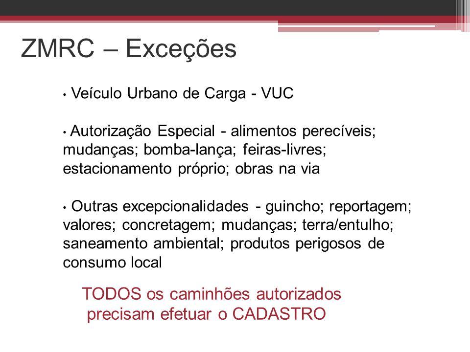 ZMRC – Exceções • Veículo Urbano de Carga - VUC • Autorização Especial - alimentos perecíveis; mudanças; bomba-lança; feiras-livres; estacionamento pr