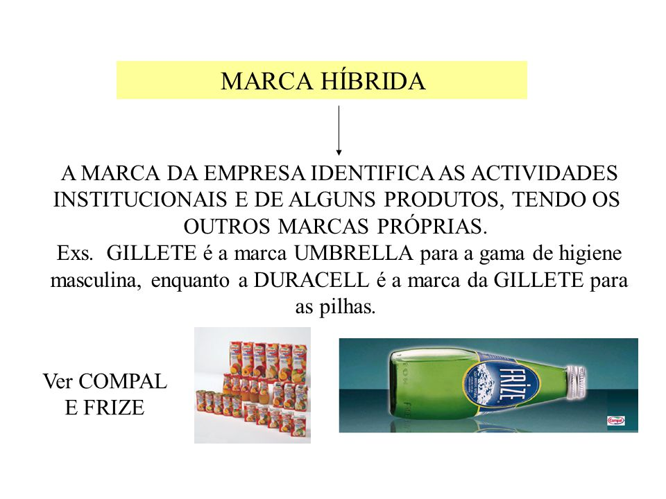 MARCA HÍBRIDA A MARCA DA EMPRESA IDENTIFICA AS ACTIVIDADES INSTITUCIONAIS E DE ALGUNS PRODUTOS, TENDO OS OUTROS MARCAS PRÓPRIAS.