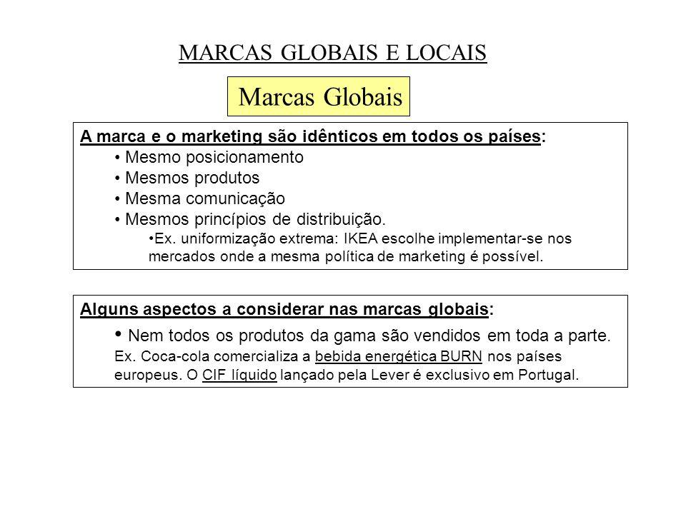 MARCAS GLOBAIS E LOCAIS Marcas Globais A marca e o marketing são idênticos em todos os países: • Mesmo posicionamento • Mesmos produtos • Mesma comunicação • Mesmos princípios de distribuição.