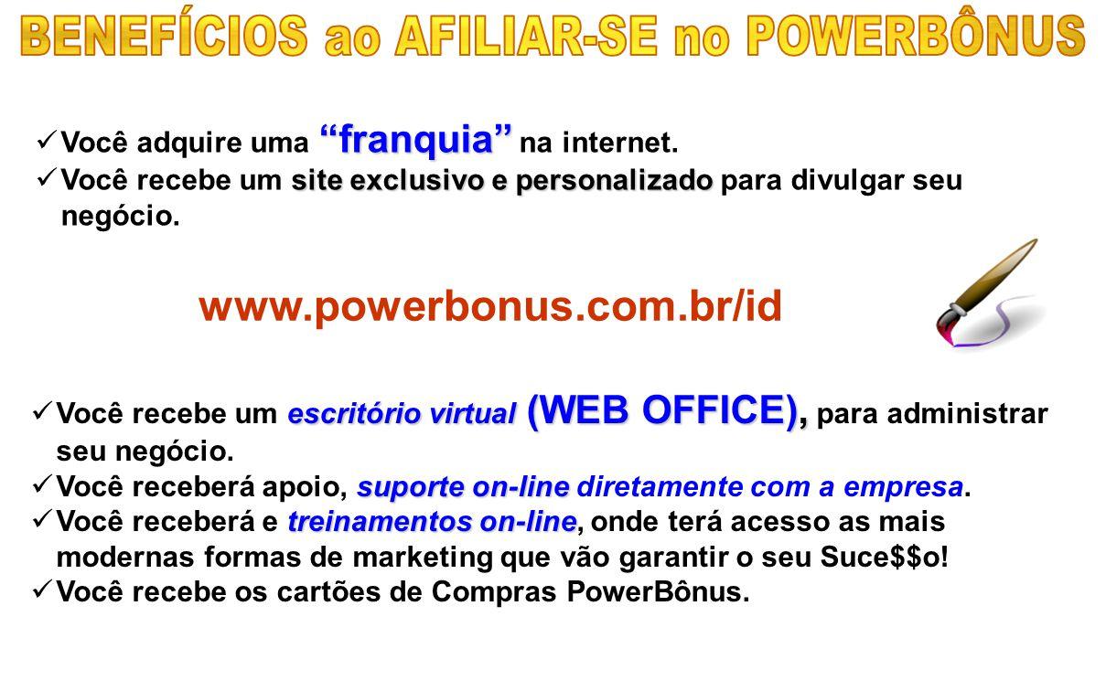 """VVocê adquire uma """" """""""" """"franquia"""" na internet. VVocê recebe um s ss site exclusivo e personalizado para divulgar seu negócio. www.powerbonus.com.b"""