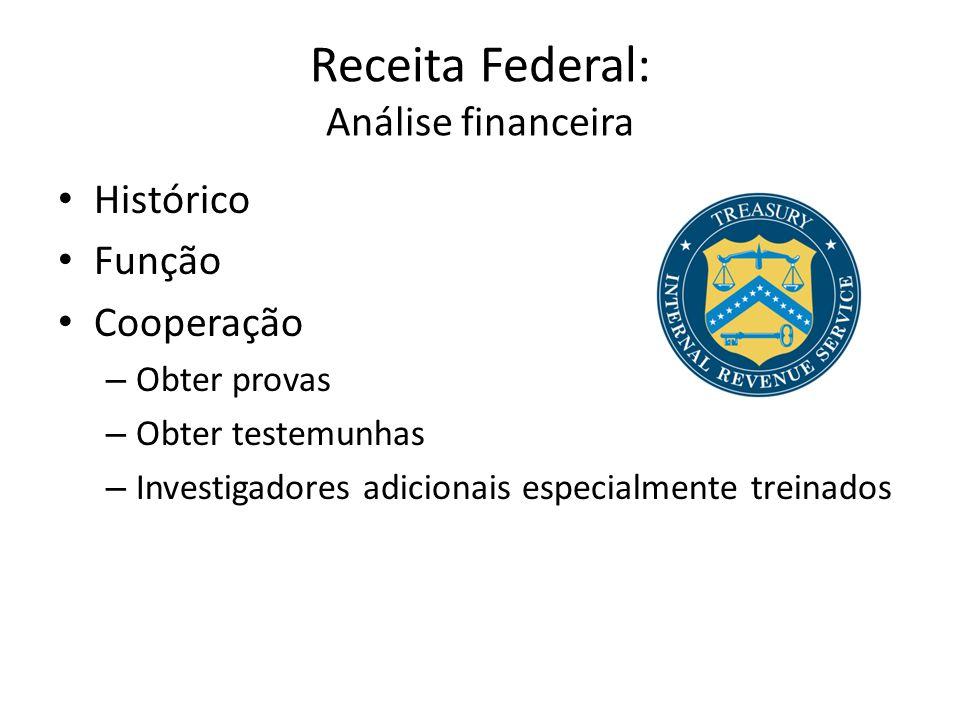 Receita Federal: Análise financeira • Histórico • Função • Cooperação – Obter provas – Obter testemunhas – Investigadores adicionais especialmente treinados