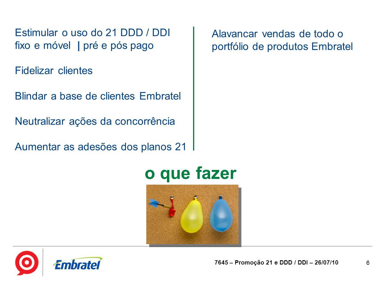 6 7645 – Promoção 21 e DDD / DDI – 26/07/10 o que fazer Estimular o uso do 21 DDD / DDI fixo e móvel | pré e pós pago Fidelizar clientes Blindar a bas