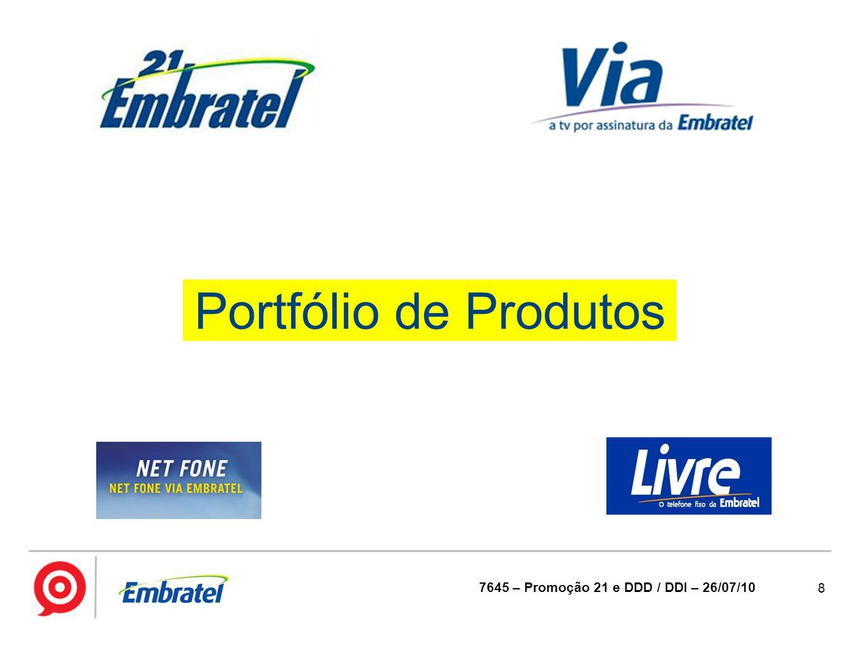 8 7645 – Promoção 21 e DDD / DDI – 26/07/10 Portfólio de Produtos