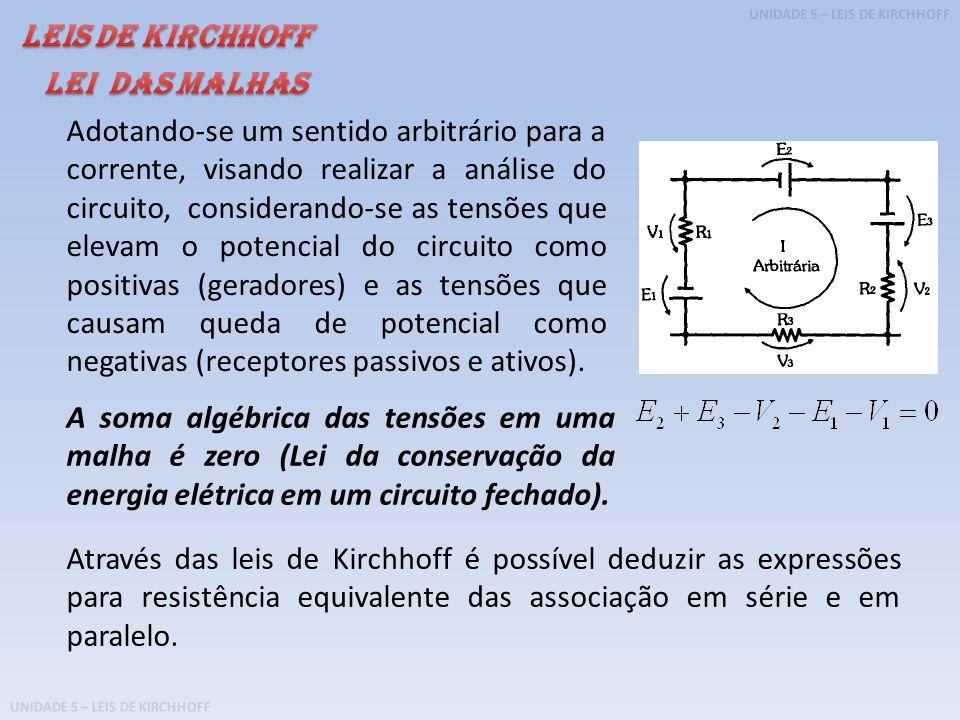 UNIDADE 5 – LEIS DE KIRCHHOFF Exemplo 1: Determine a resistência equivalente da associação em série do circuito abaixo.